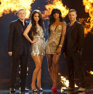 Louis is back with Tulisa, Kelly and Gary